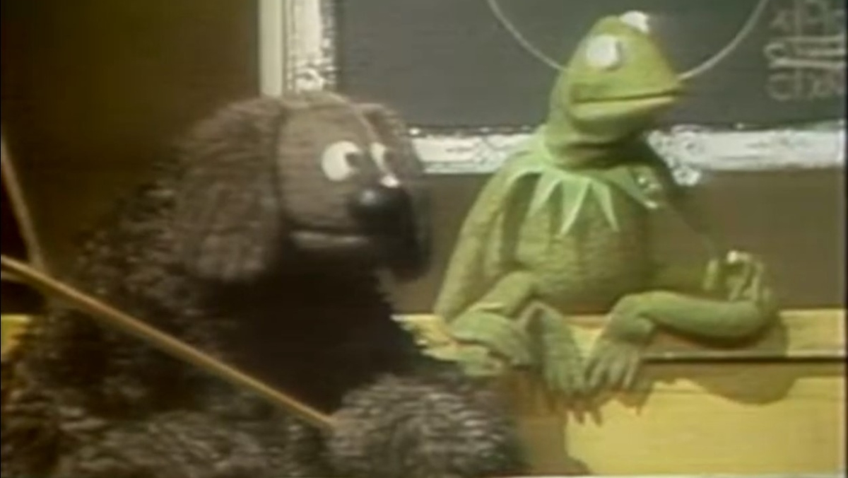 Kermit the Frog and Rowlf from Sesame Street sit beside each other in 1960s era sales pitch reel
