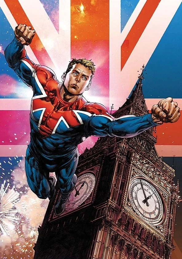 Brian Braddock as Captain Britain as he appeared as an agent of MI13. He sports his Union Jack costume, with no mask. He is flying through the air, his arms outstretched. Big Ben is in the background and behind that, a giant UK flag.