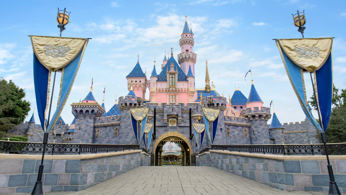 The pink and blue castle at Disneyland