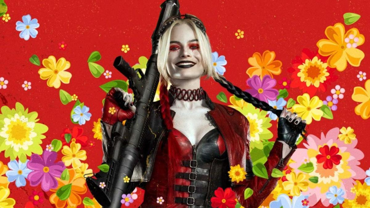Harley Quinn in a poster for The Suicide Squad stands in a burst of illustrated flowers