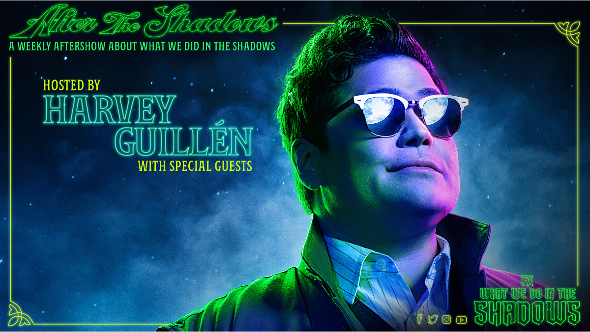 Harvey Guillén wears sunglasses in a promo blue and green still for after the shadows