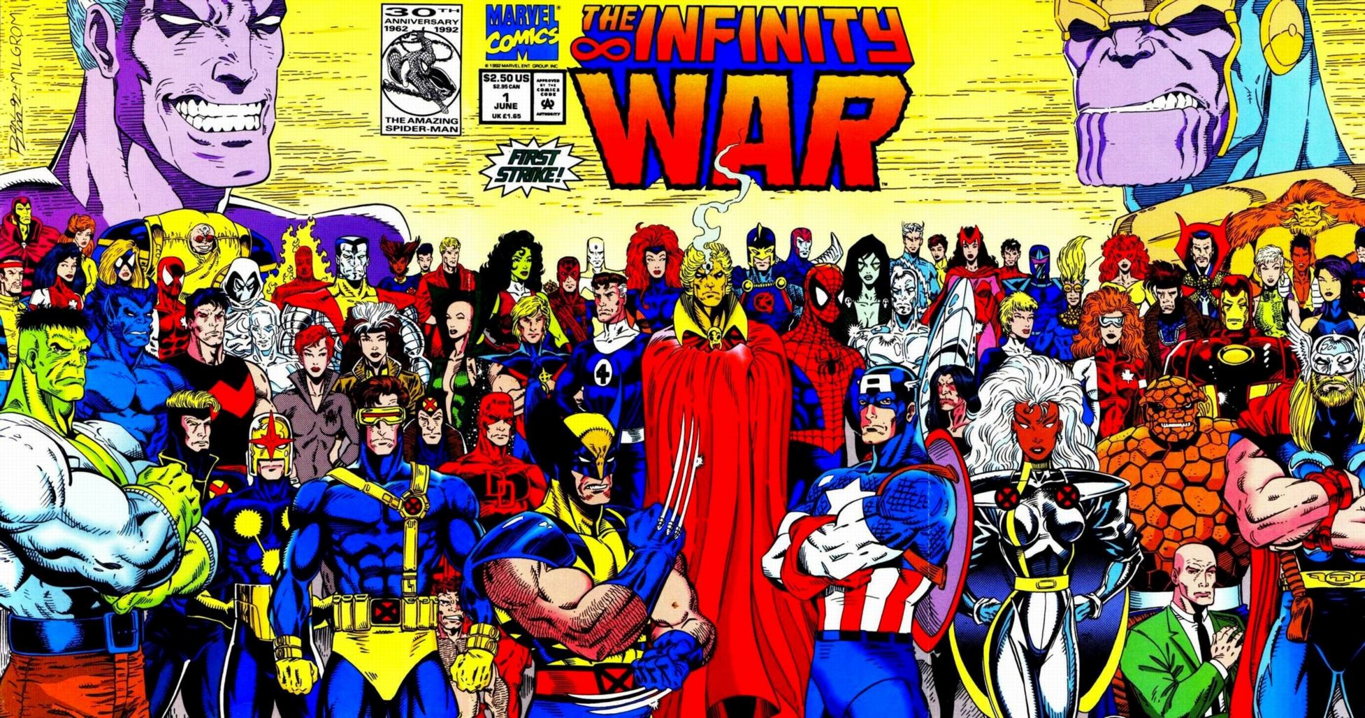 The Infinity War cover shows all of Marvel's heroes with Thanos looming over them