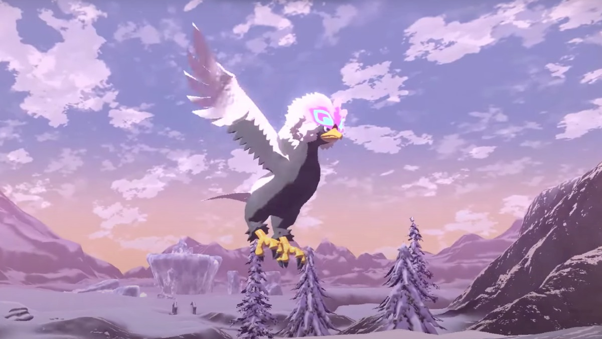 New Pokémon Legends: Arceus Regional form, the Hisuian Braviary - a large bird with big wings flying across a wintery mountaintop