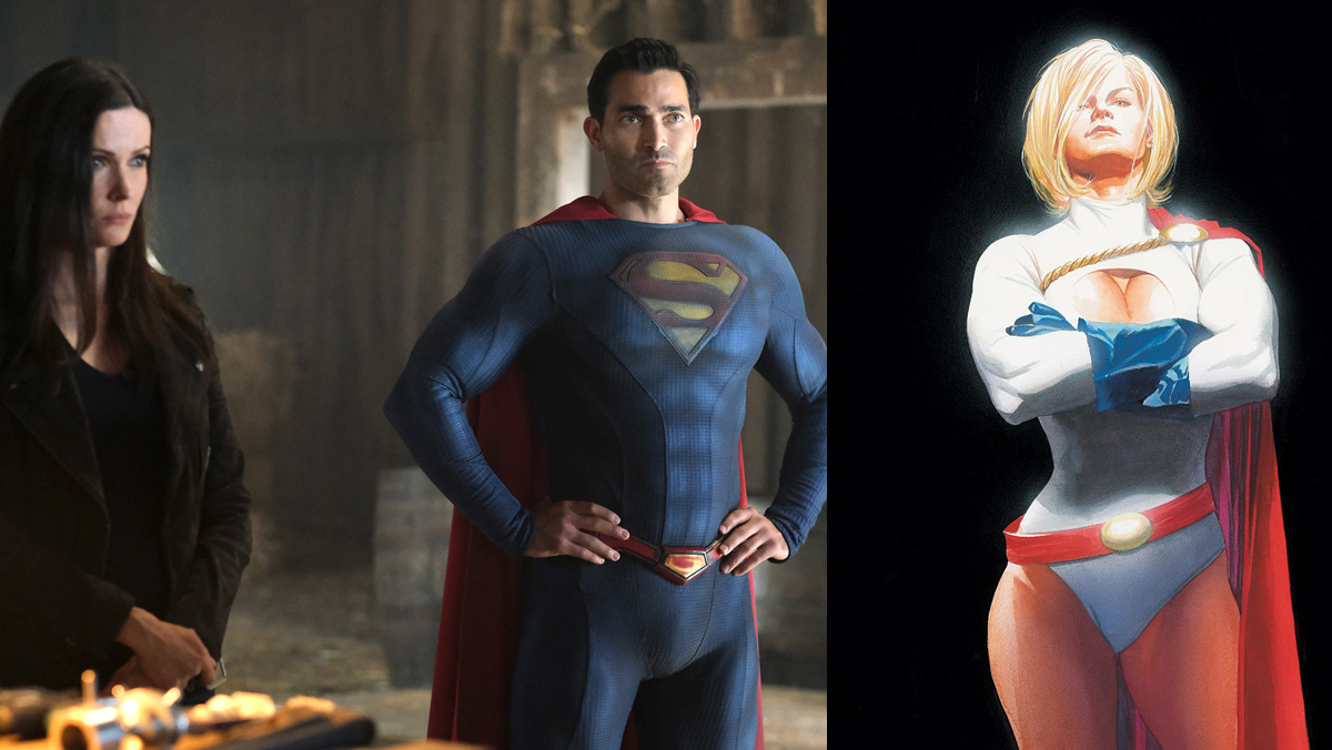 Superman and Lois' Elizabeth Tulloch and Tyler Hoechlin, next to DC Comics' Power Girl.