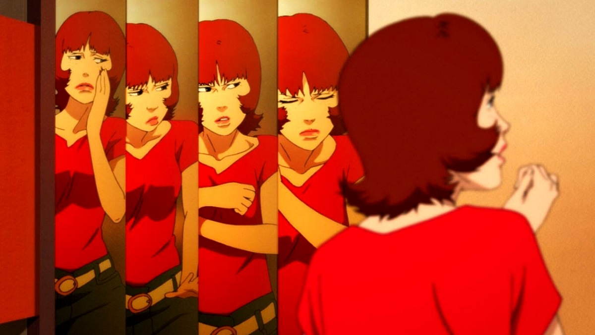 The titular Paprika from the Satoshi Kon movie looks at herself in a split-personality mirror.