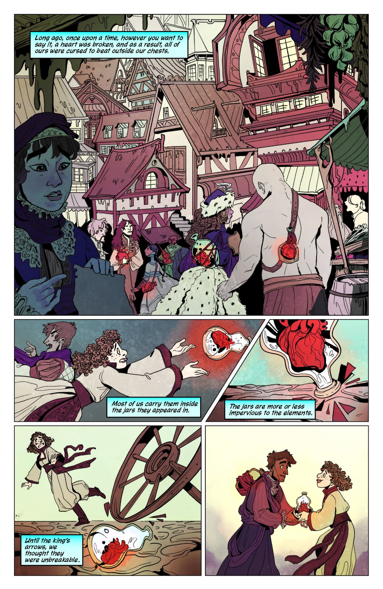 The Heart Hunter graphic novel preview page depicting the story of a curse