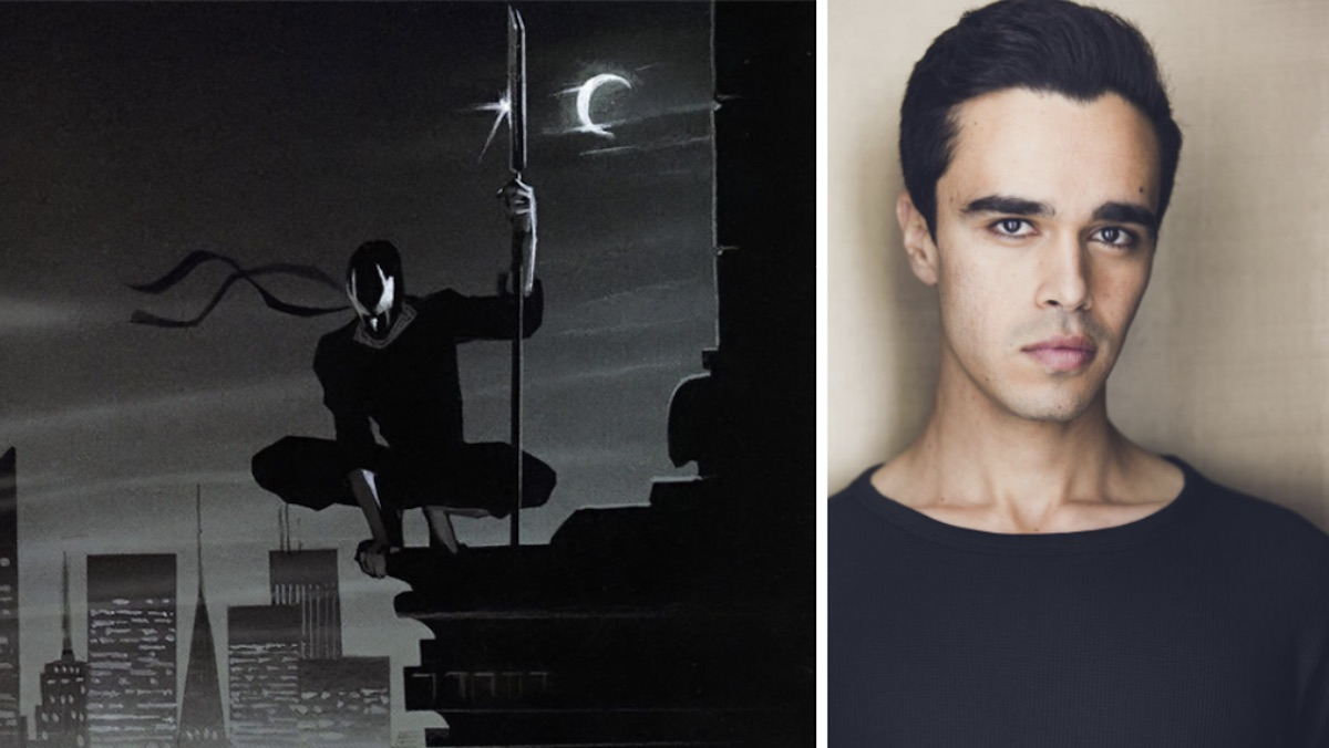 A black and white comic of a masked vigilante from Grendel, and actor Abubakr Ali in a black shirt