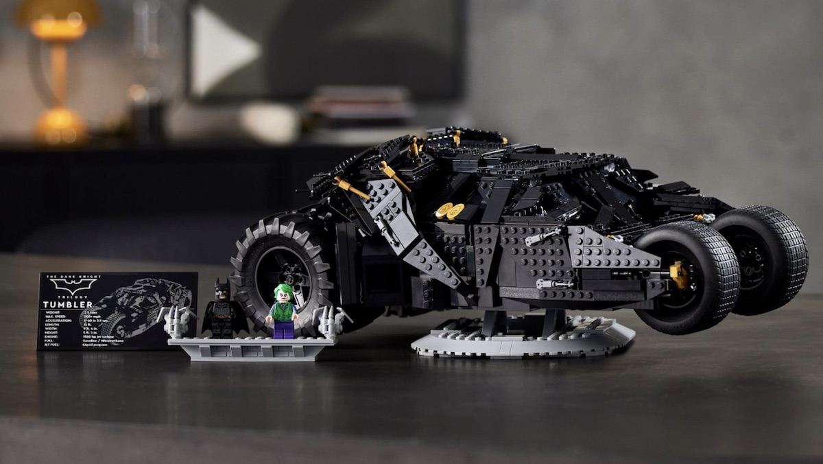 A LEGO version of the Batmobile Tumbler from the Dark Knight trilogy with Batman and Joker minifigs and a display plaque