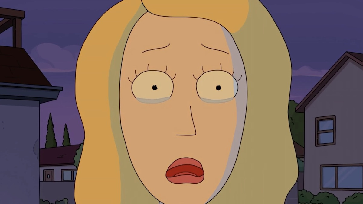 A teary-eyed Beth on Rick and Morty
