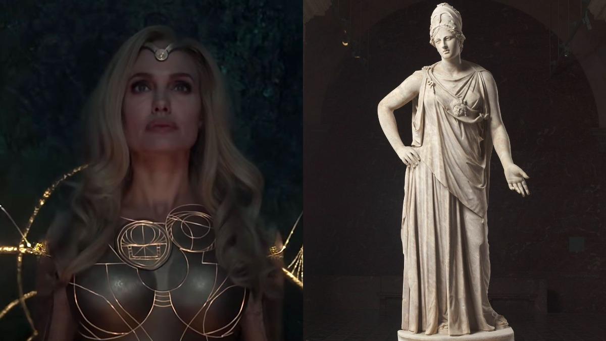 The Eternals' Thena who is based on Athena and a statue of the goddess