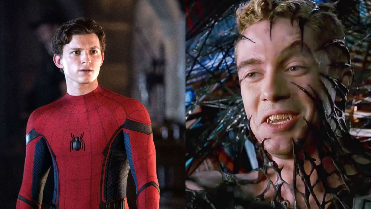 Side by side of Tom Holland's Spider-Man and Topher Grace's Venom - could No Way Home feature Topher Grace?
