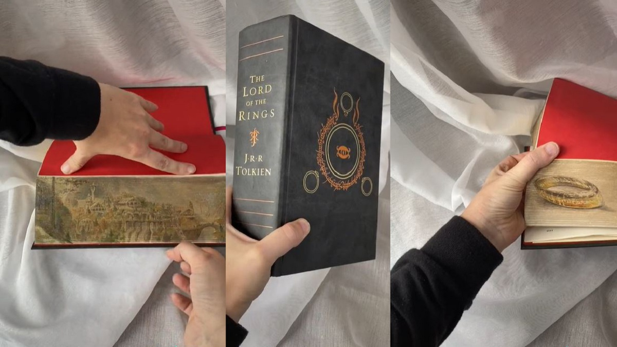 Art painted on the fore edges of Lord of the Rings.