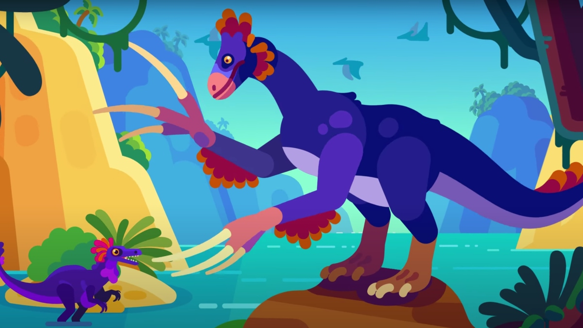 A cartoonish illustration of what a large, bipedal dinosaur may have looked like.