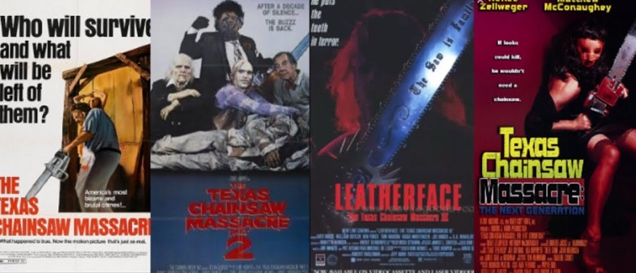 The movie posters for the first four Texas Chainsaw massacre franchise.